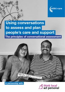 Guide cover: Using conversations to assess and plan people's care and support