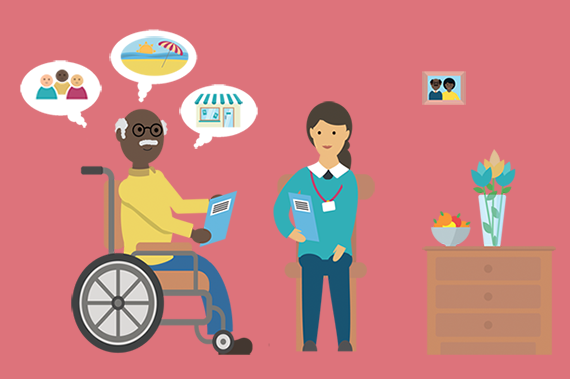 Illustration depicting a man in a wheelchair discussing his care needs with a health and care professional