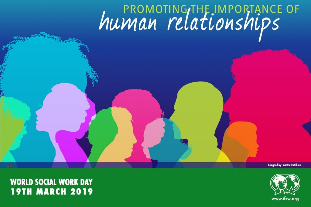 Colourful poster promoting World Social Work Day 2019