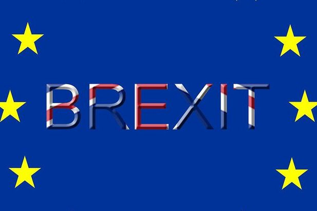 Brexit written out in union jack colours of red, white and blue.