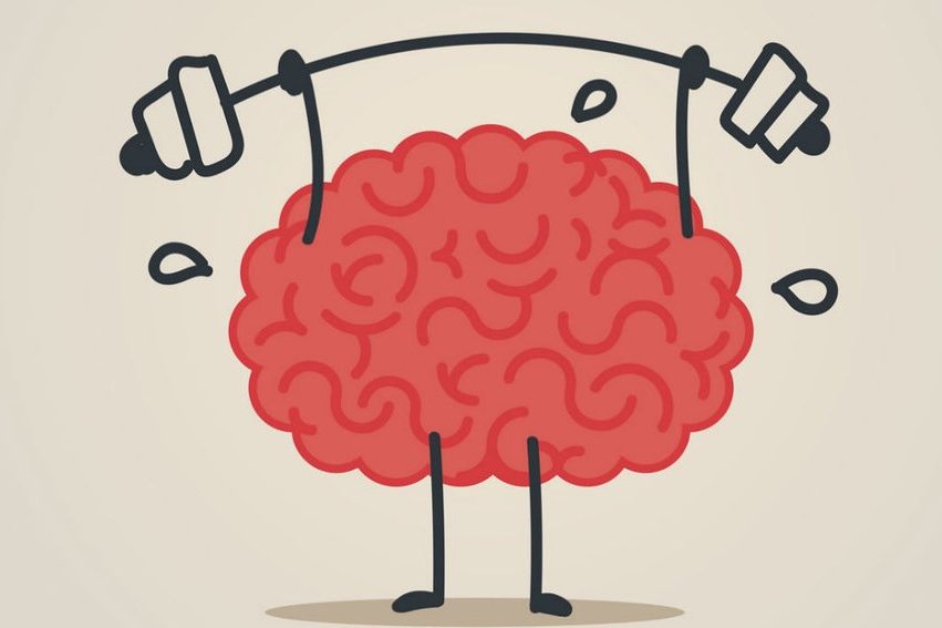 Cartoon image of a brain with arms and legs lifting weight to demonstrate mental fitness