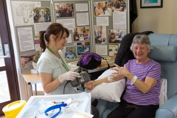A clinician treats a day patient at the Alan Hudson Day Treatment Centre