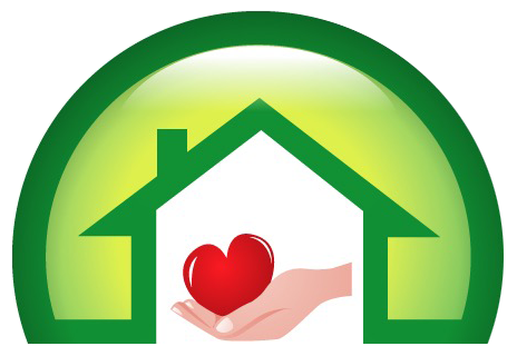 Symbol: a hand cradling a heart inside a house surrounded by a protective green dome