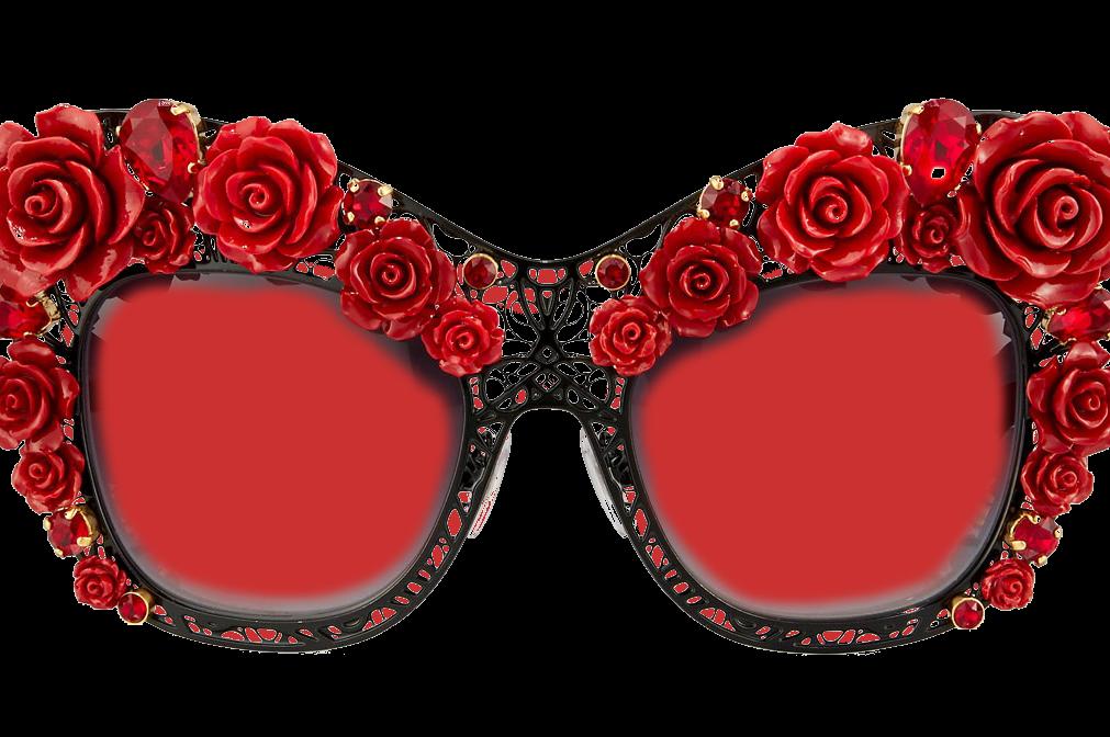 Elton John glasses - big, garish and with rose petal frames