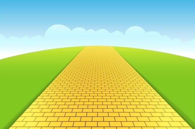 a yellow brick road