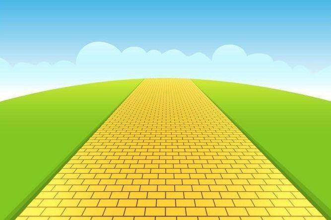 a yellow brick road