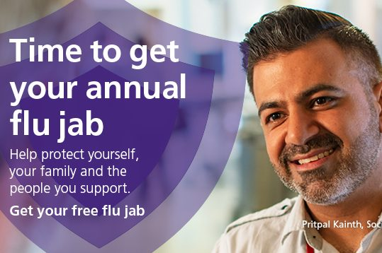 Social workers and many other care and support staff are eligible for the flu vaccination