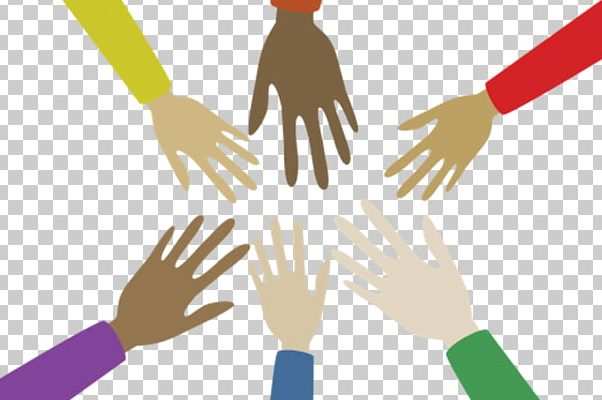 Multiple hands reaching towards each other in a circle of collaboration