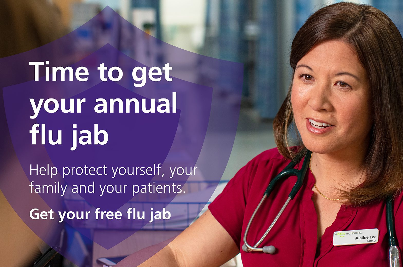 Free flu jab for NHS and social care staff poster