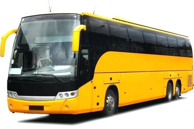 Big yellow tour bus evoking the Beatles Magical Mystery Tour