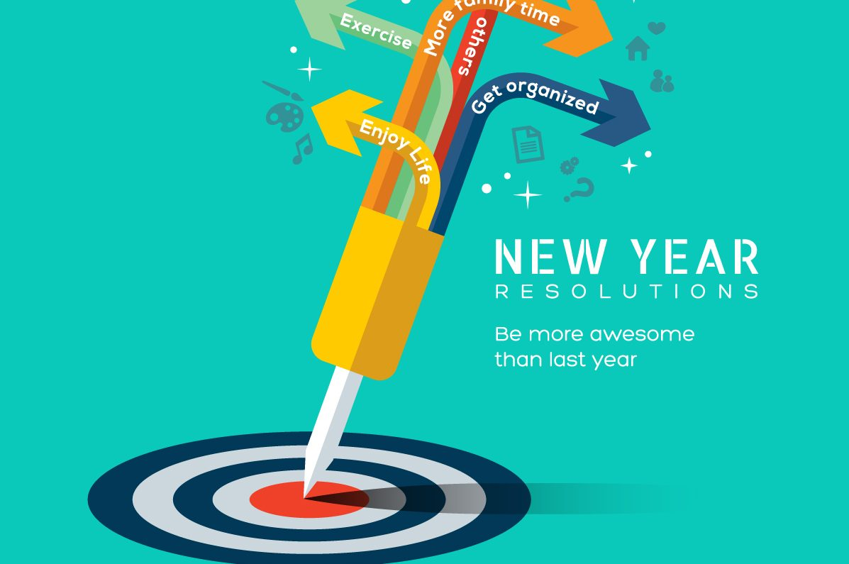 New Year Resolutions represented by arrows bearing slogans like 'get fit' and 'get organised'