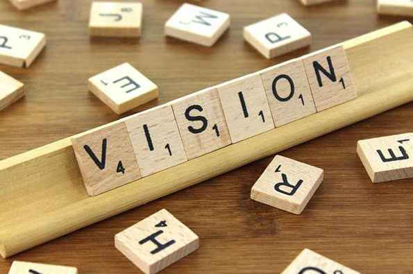 Scrabble letters spelling out the word vision