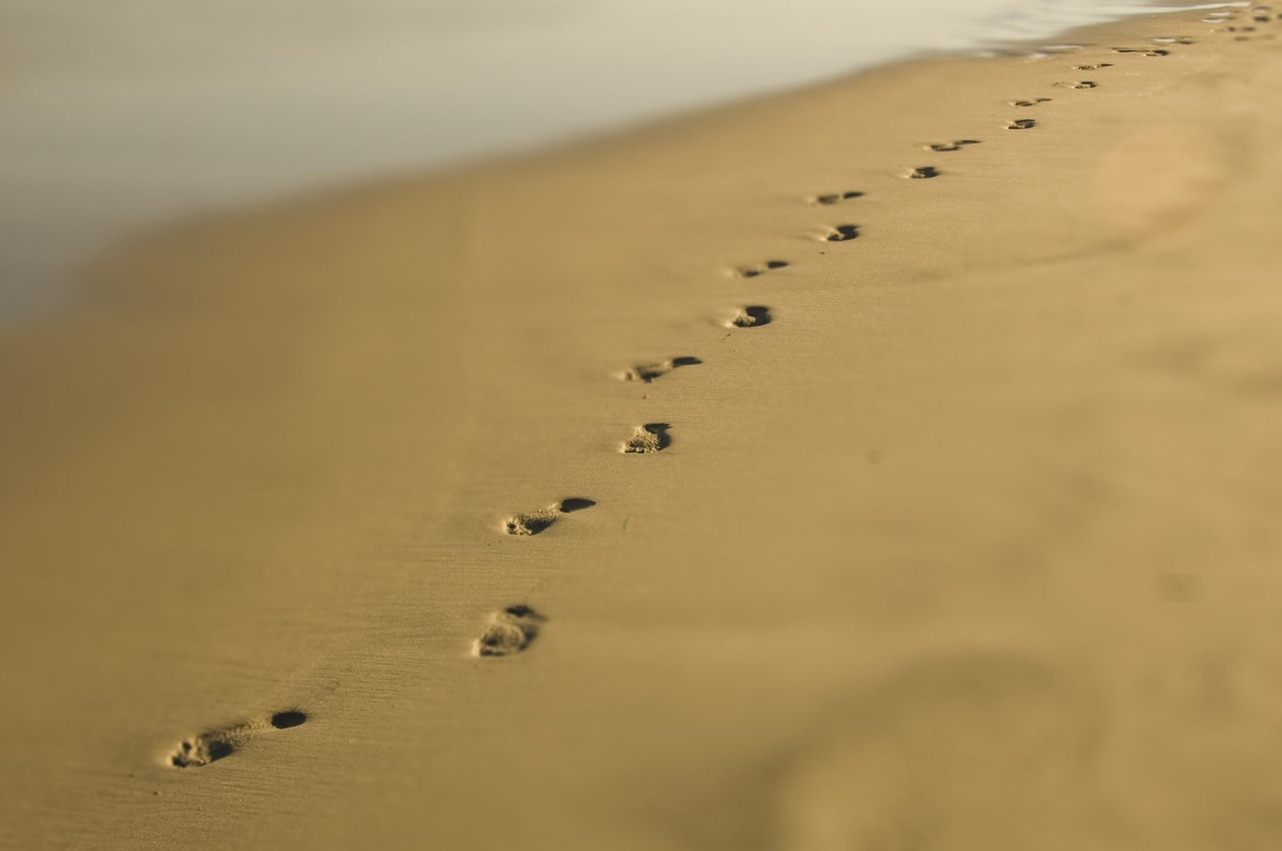 Footprints on abeach