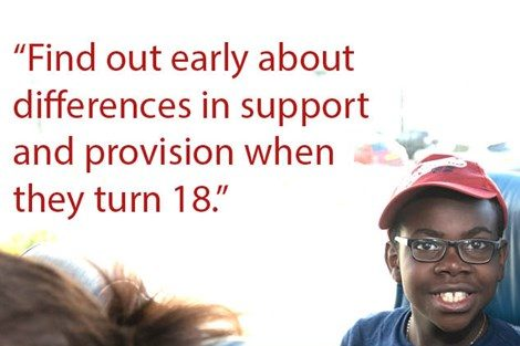 Smiling black boy on poster about finding services when children turn 18.