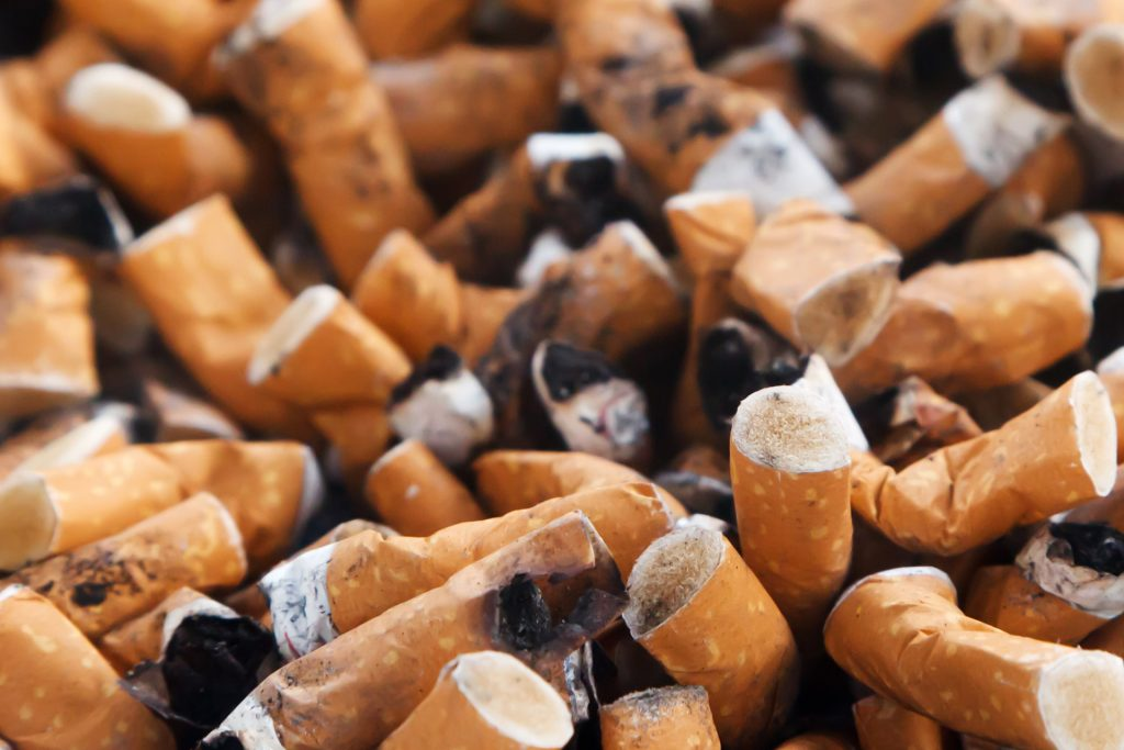 Cigarette butts to signify giving up smoking