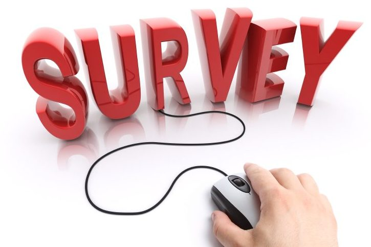 The word survey written in 3D with a computer mouse attached.