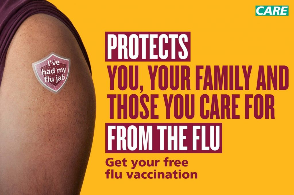 PHE flu jab poster for care staff