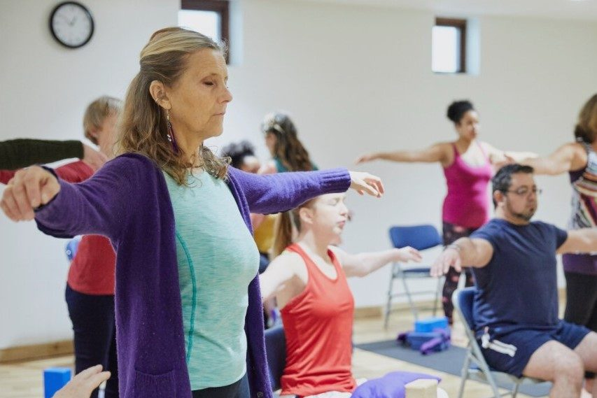 Yoga class for those with disabilities