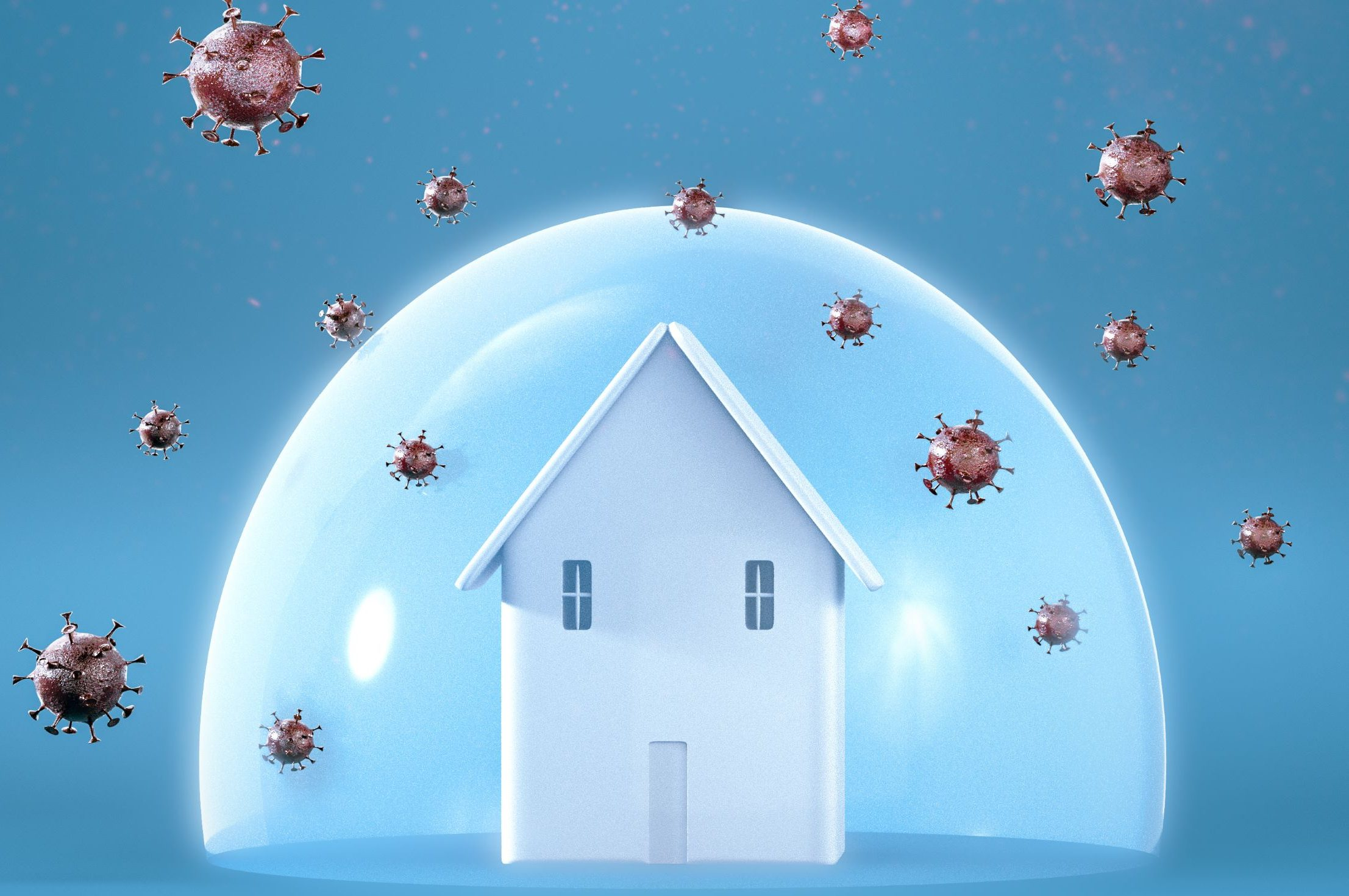 Care home in protective bubble with germs on the outside