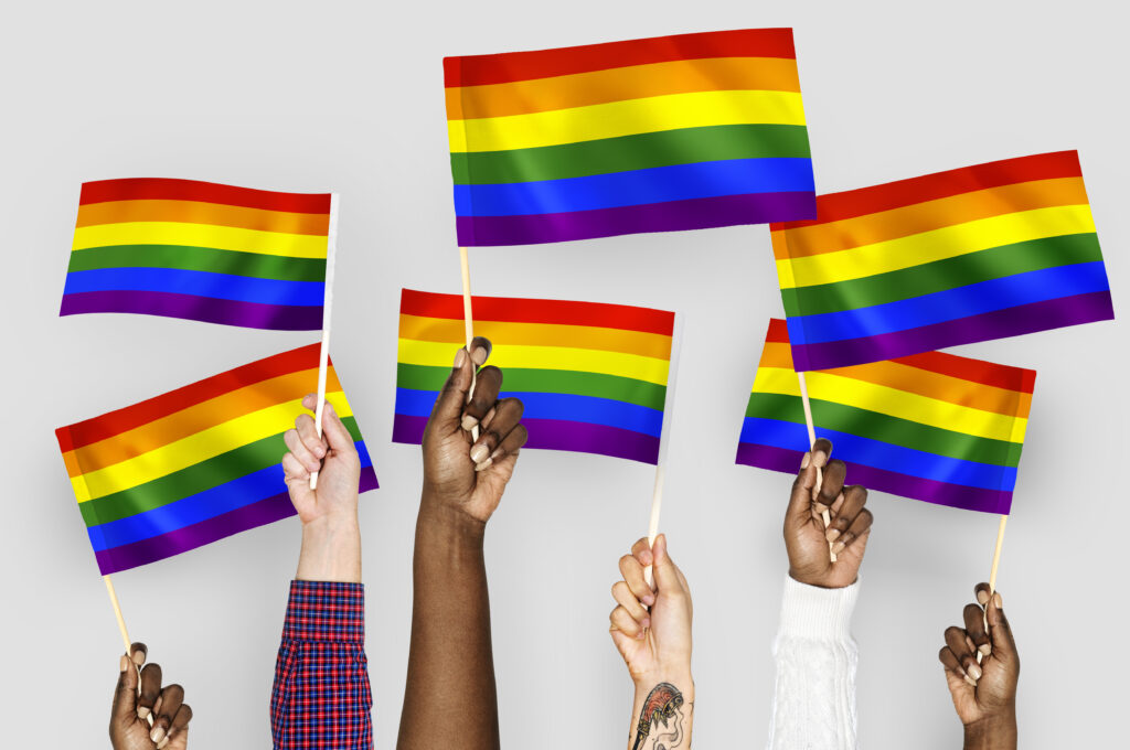 Diverse range of hands holding rainbow flags