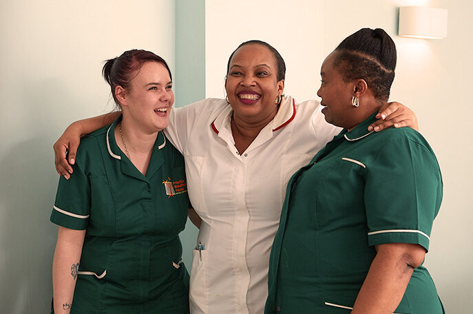 Care home colleagues smiling
