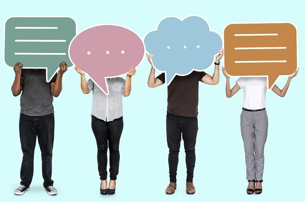 diverse-people-showing-speech-bubble-symbols