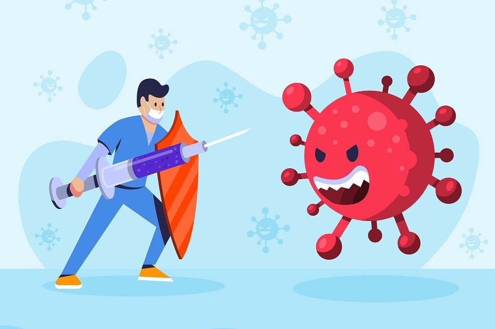 Cartoon of man with shield and giant syringe fending off a virus